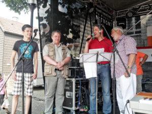 Jonas Glatzel, Kai Alberts, Marc Krippner und Peter Herröder bei der Preisübergabe