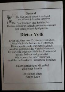 Dieter Völk verstorben